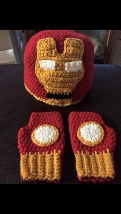 Iron man inspired beanie and fingerless gloves Crochet Mask, Crochet Gloves Pattern, Crochet Beanie, Diy Crochet, Arm Knitting, Knitting Socks, Knitted Dolls, Crochet Dolls, Superhero Hats