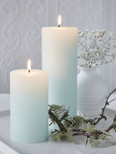 Mint Green Pillar Candles #nordichouse