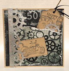 Birthday Card (Stampin' Up stamp: motorcycle/Tim Holtz Steampunk Die)