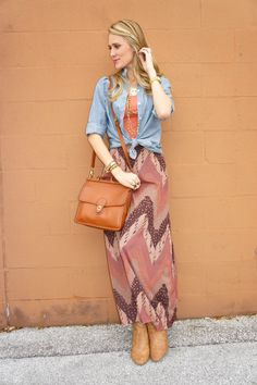 Long skirt, tied button-down over tank top