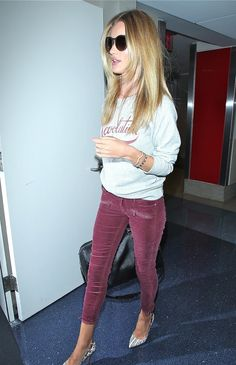 Rosie Huntington-Whiteley in PAIGE Denim / Jane Zip in Shiraz Corduroy