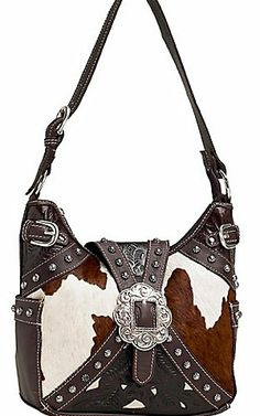 American West Las Prairie Rose Brown And Cream Cowhide Buckle Hobo Handbag 219
