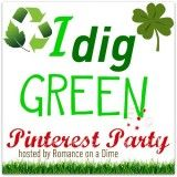 """Join the """"I dig GREEN"""" Pinterest Party. Link up your boards at Romanceonadime.com!!"""