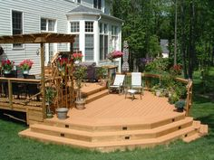 deck ideas- love how the angles replicate the bay window