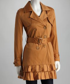 Loving this Camel Pleated Trench Coat on #zulily! #zulilyfinds