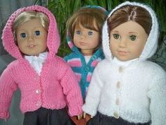 """cute knit sweater for 18"""" doll (free pattern @ ravelry by janet longaphie)"""