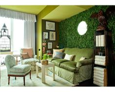 The Green Room Interiors  - FAKE GRASS ON THE WALL!!!