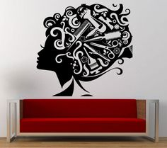 Wall Room Decal Vinyl Sticker Hair Salon Girl Barber Tools Inside Big Large L243 #3M #VinylPrintArtDecalSticker