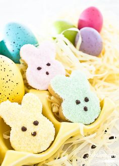 Adorable PEEPS Bunny Cookies - white chocolate dipped shortbread cookies just perfect for Easter!