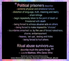 Ritual abuse quote #ritualabuse FB share from http://www.facebook.com/TraumaAndDissociation/photos/a.393988144035951.1073741841.357814604319972/484794198288678/?type=3&theater or click the image. More in our Ritual Abuse photo album on facebook.com/TraumaAndDIssociation (no graphic images)   #quote from Who Dares Wins by Laurie Matthew