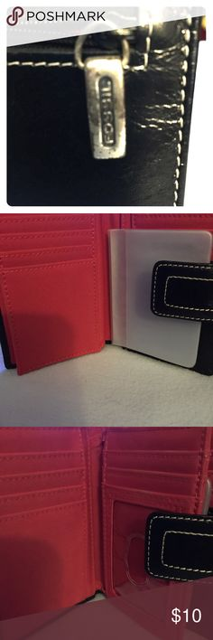 """""""Fossil"""" Woman's Wallet USED Selling a Used """"Fossil"""" Black Leather Wallet with red inside: it has 14 Card Slots/1 slot of Driver License, 15 slots, 5 page photo. This wallet w/zipper compartment for change,inside has 6 hide pockets/area for currency 💴..This is used, still has many years left..                                                                 All my items come from:                                          🚭Smoke Free & ❌Cat 🐈 Free HOME 🏡. Fossil Bags Wallets"""