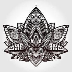 lotus flower tattoo designs: Vector ornamental Lotus flower, ethnic art, patterned Indian paisley. Hand drawn illustration. Invitation element. Tattoo, astrology, alchemy, boho and magic symbol. Illustration