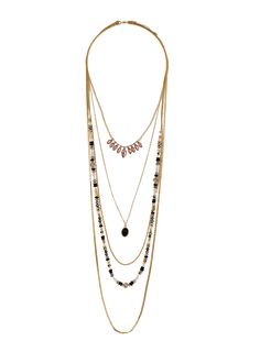 Gold Navette Multirow Necklace