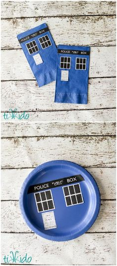 Easy Doctor Who TARDIS Paper Napkin and Plate Tutorial including free printables.