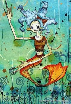 Kate Crane's wonderful work with Daniel Torrente's mermaid from Stampotique.  www.stampotique.com