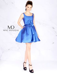 Royal blue fit and flare short dress with bow accent at waistline. Mac  Duggal Prom Dresses 1a3f09f42
