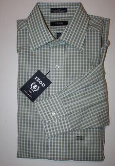 Mens IZOD Regular Fit Green Dress Shirt Long Sleeve 15 1/2 34-35 MSRP 45.00 NEW