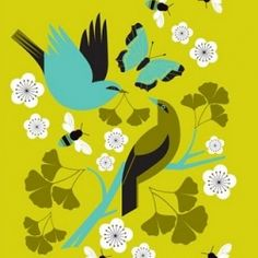 Artist/illustrator Eleanor Grosch.  Several things I love...birds, trees/branches, bees and the colors {citron, olive, aqua, gray, black}