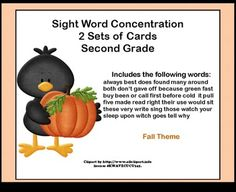 Here's a fun way for your second grade students to practice their sight words.  This game can be used as part of a center, in small groups for practice, or by one student.  There are two sets of cards using the second grade sight words included on the Dolch Sight Word List. Each set has a fall theme.