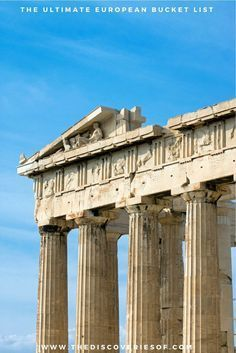 The Acropolis, Greece 100 unmissable Europe travel destinations for the ultimate Europe bucket list. The best Europe travel tips and ideas for your trip I Places to visit in Europe I Europe road trip I European cities I Winter I Summer I Culture I Italy I Spain I France I Culture I Europe Places #travel #europe #bucketlist