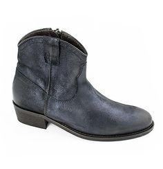 Elisa blue metallic leather boots
