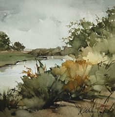 "Upper Ranch Creek ($1,500) by Joseph Alleman Watercolor ~ 8"" x 8"""