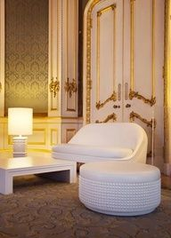 love this studded white on white furniture as seen in the gold room by lee broom