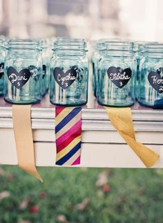 We love these chalkboard mason jars, easy to DIY and perfect for spring or summer outdoor weddings. Add chalkboard paint to mason jars Personalized Mason Jars, Custom Mason Jars, Chalkboard Mason Jars, Chalkboard Paint, Chalkboard Labels, Chalkboard Stickers, Chalk Paint, Chalkboard Ideas, Chalkboard Wedding
