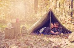 camping themed engagement session inspiration