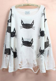 White Long Sleeve Cats Print Ripped Sweater... why ripped? I Love the Kittiesss!! :/