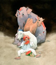 The Watermelon Route, Quentin Gréban Elephant Illustration, Children's Book Illustration, Watercolor Illustration, Animation Tutorial, Concept Art, Art Drawings, Waterworks, Children's Books, Comic