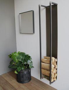 Brennholzlager Cubic – Blacksmith Stahl – Spinder Design - Home Page Firewood Stand, Firewood Rack, Firewood Storage, Steel Furniture, Home Furniture, Furniture Design, House Design, Wood Logs, Woodworking Plans
