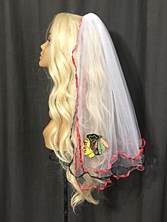 Chicago Blackhawks Bachelorette Veil by LaurenLashDesignsLLC