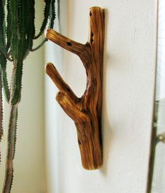 Three hooked Juniper tree branch Wall Hook for hat rack, towel rack, coat hall tree, scarf hanger, log cabin decor, rustic mancave decor by Hookedtonature on Etsy
