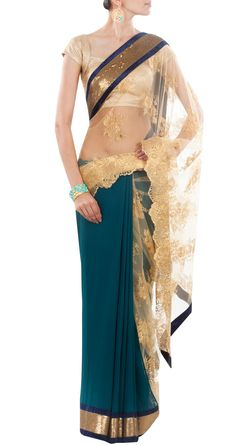 this is a nice sari for bridal party to wear at the wedding. it has the colors of the theme and feels 1920s vintage. VARUN BAHL Teal and gold chantilly lace sari