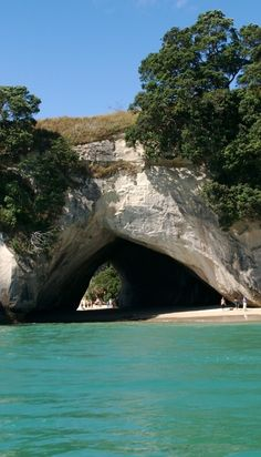 Cathedral Cove, Coromandel, North Island, New Zealand. Can't wait to jump in and swim to shore. Love swimming in water like this.