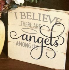 Hand built and hand painted, this 11x11 sign is made up of three slats of wood and says, I Believe there are Angels Among Us It has been distressed to have the perfect shabby chic look. Sawtooth hanger on the back for easy hanging.  Makes a wonderful gift. Please specify the colors at checkout. Note: My signs are made of wood which may come with knots, dings, small chips or imperfections. I believe these flaws contribute to the beauty and uniqueness of my items. Therefore, no two will ever…