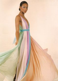 Beverly Johnson in a Halston gown, 1975.