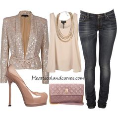 Sparkly Blazer with girlie shirt, jeggings & sky high pumps!