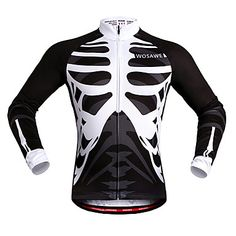770e3996ae WOSAWE Men's Women's Cycling Jersey Bike Jersey Top Windproof Reflective  Strips Back Pocket Sports Skeleton White / Black Mountain Bike MTB Road  Bike ...