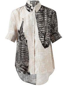 ACNE | Crocodile Printed Linen-blend Shirt <3