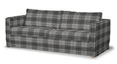 Dekoria Fire Retarding Ikea Floor length Karlstad 3-seater sofa cover - grey tartan