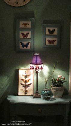 turquoise, livingroom, printed butterflies, romppala.blogspot.com
