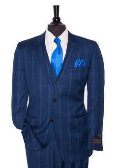 Tiglio Mens Fits Blue Plaid - Suit World Fashion Moda, Suit Fashion, Mens Fashion, Sharp Dressed Man, Well Dressed Men, Dress Suits, Men Dress, Men's Suits, Blue Plaid Suit