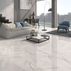 Add a touch of luxury with Calacatta white gloss floor tiles. These gorgeous tiles have a stylish marble effect finish with either a grey or beige vein design. If you want to enjoy the beauty of natural marble without the maintenance or heavy price tag, these large white tiles made from quality porcelain are perfect.