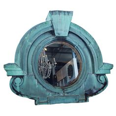 "French zinc ""oeil de boeuf"" dormer window mirror, c. 1875 