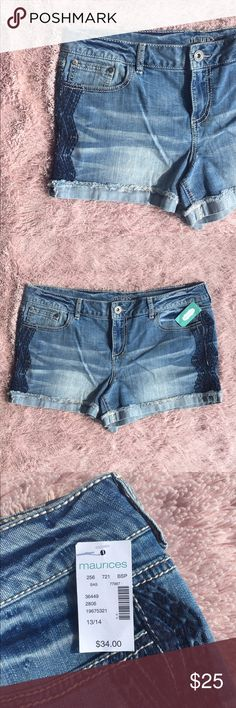 Maurices Light-Wash Tribal Denim Shorts Cute and stylish tribal-inspired denim shorts from Maurices. There is tribal stitching down the side of both legs. NWT. Size 13/14 Maurices Shorts Jean Shorts