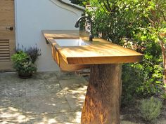 Elegant Recovered Sinker Log Outdoor Counter Top And Base With An Under Mount Farm  Sink.