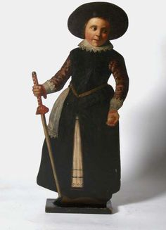 Dummy board from the second half of the 17th century representing a boy with a hobby-horse stick and an apple, at Chirk Castle, Wrexham. ©National Trust Collections