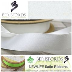 Made from Recycled Plastic bottles and to the same high quality of the world renowned Berisfords 3501 Satin ribbon. Ribbon Bows, Ribbons, World Crafts, How To Make Ribbon, Recycle Plastic Bottles, White Satin, Different Colors, Range, Colour